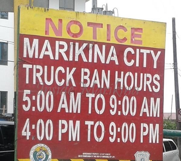 truck ban hours in marikina