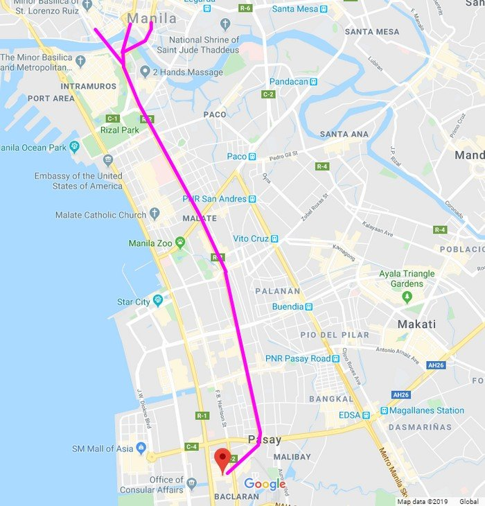 Taft Avenue through Quirino Avenue, all the way to Plaza Lawton from Redemptorist Street. This route also includes Jones Bridge, Quezon Bridge, and McArthur Bridge.