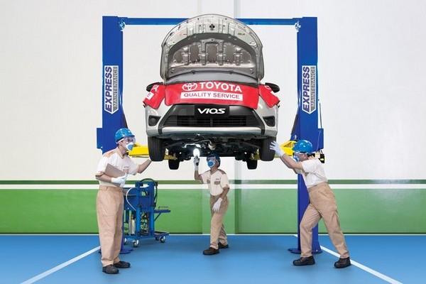 A Toyota Vios in a pms checkup