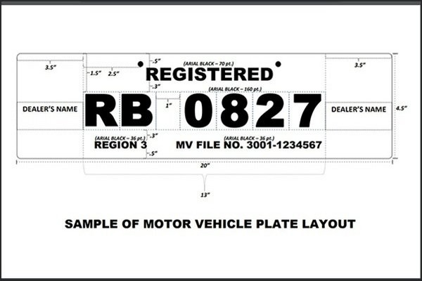 standard format of LTO temporary plate number Philippines