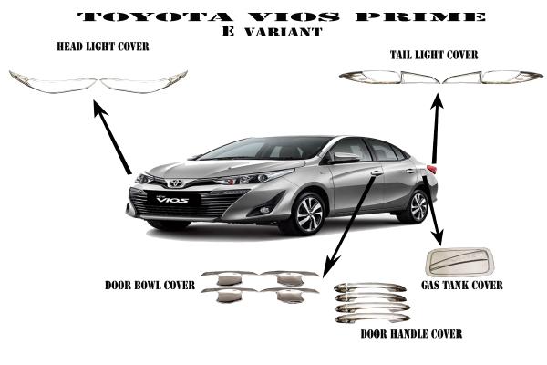 Toyota Vios Prime Garnish Cover Combo Set Chrome