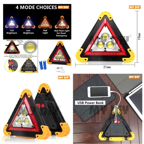 Multi-Function Work Light Car Early Warning Device Triangle Sign