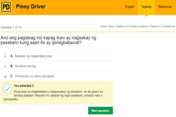 LTO portal reviewer tagalog