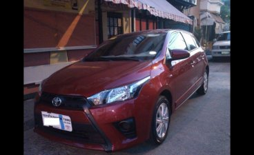 Red Toyota Yaris 2015 Hatchback for sale in Manila